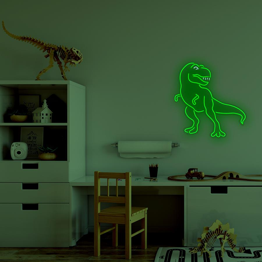 'DINOSAUR' GREEN NEON LED WALL MOUNTED SIGN