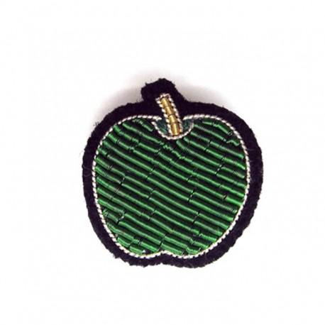 Hand-Embroidered Apple Pin